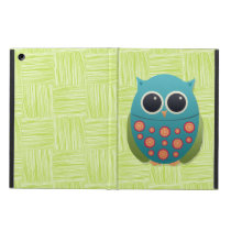 Cute Blue and Green Owl with Orange / Red Flowers Case For iPad Air