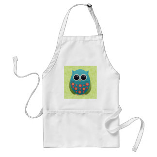 Cute Blue and Green Owl with Red and Yellow Flower Adult Apron