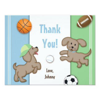 Cute Blue and Green Sporty Puppy Note Card