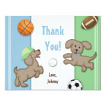 Cute Blue and Green Sporty Puppy Note Card Invitation