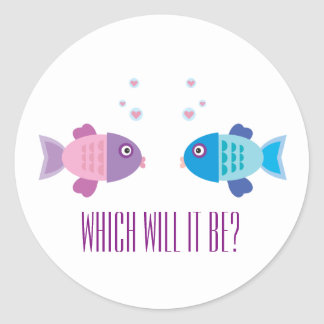 Cute Blue and Pink Baby Fish - Gender Reveal Classic Round Sticker