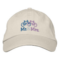 Cute Blue And Pink Bike Love Heart Wedding Embroidered Baseball Hat