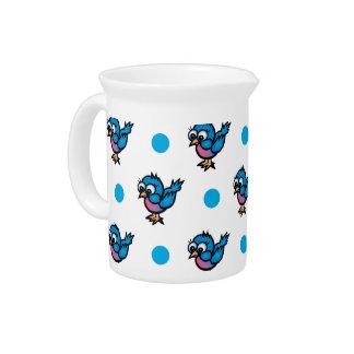 Cute Blue and Pink Cartoon Bird Polka Dots Drink Pitchers