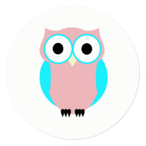 Cute Blue And Pink Owl Baby Shower Card