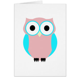 Cute Blue And Pink Owl Note Cards