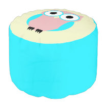 Cute Blue And Pink Owl Ottoman
