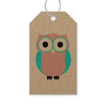 Cute Blue And Pink Owls Baby Shower Gift Tag