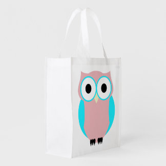 Cute Blue And Pink Owls Baby Shower Tote Bag Grocery Bag