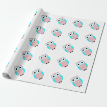 Cute Blue And Pink Owls Baby Shower Wrapping Paper