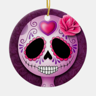 Cute Blue and Purple Sugar Skull Double-Sided Ceramic Round Christmas Ornament