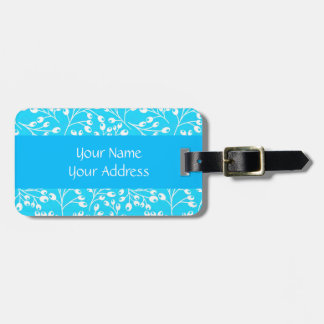 Cute blue and white autumn berries travel bag tags