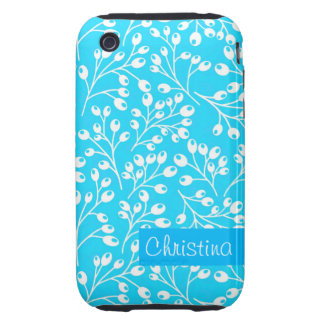 Cute blue and white autumn berries tough iPhone 3 case