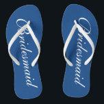 19cbd71a2 Cute blue and white bridesmaid wedding flip flops br  div class