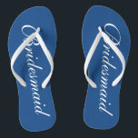 """Cute blue and white bridesmaid wedding flip flops<br><div class=""""desc"""">Cute navy blue and white wedding flip flops for bridesmaids. Custom background and strap color personalizable with name or monogram initials optional. Modern his and hers wedge sandals with stylish script calligraphy typography. Elegant party favor for nautical and beach themed wedding, marriage, bridal shower, engagement, anniversary, bbq, bachelorette, bachelor, girls...</div>"""