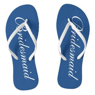Cute blue and white bridesmaid wedding flip flops