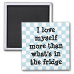 Cute blue and white checkerboard diet affirmation 2 inch square magnet