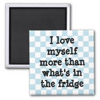 Cute blue and white checkerboard diet affirmation magnet