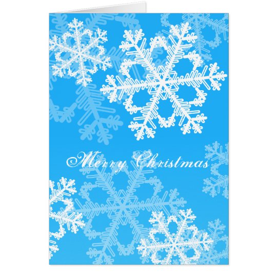 Cute blue and white Christmas snowflakes Card