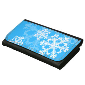 Cute blue and white Christmas snowflakes Wallets
