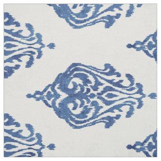 Cute blue and white damask ikat tribal patterns fabric