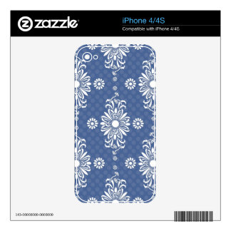 Cute Blue and White Floral Pattern iPhone 4S Decals