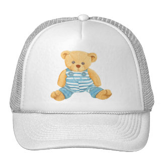 Cute Blue and White Overalls Teddy Bear Trucker Hat
