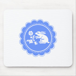 Cute Blue and White Vintage Bunny Rabbit Baby Boy Mouse Pad