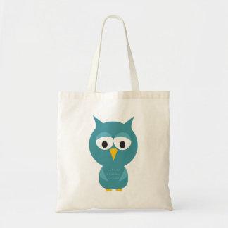 Cute Blue And Yellow Cartoon Owl Tote Bag