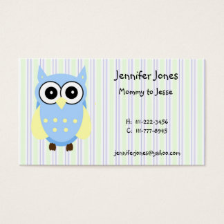 Cute Blue and Yellow Owl Calling Card