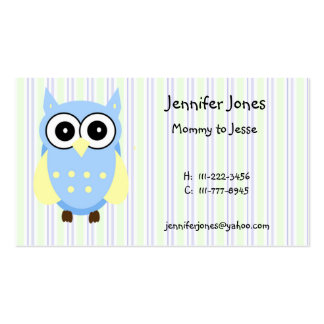 Cute Blue and Yellow Owl Calling Card Business Card