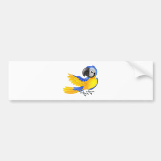 Cute blue and yellow parrot bumper sticker