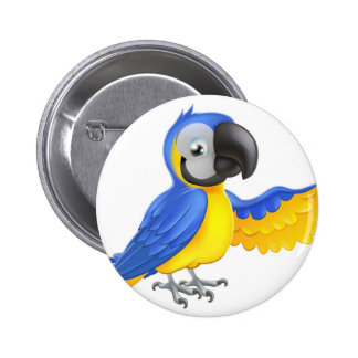 Cute blue and yellow parrot pinback button