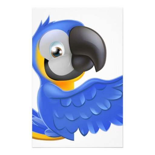 Cute blue and yellow parrot personalised stationery
