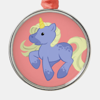 Cute Blue and Yellow Unicorn Metal Ornament