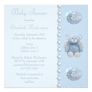 Cute Blue Angel Teddy Bear Baby Boy Shower Invites