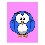 Cute blue animated little owl postcards