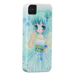 Cute blue anime fairy girl iPhone 4 case