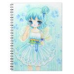 Cute blue anime fairy girl note books