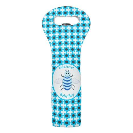 Cute Blue Baby Boy Bee Custom Wine Bag