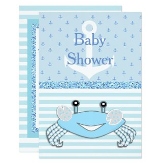 Cute Blue Baby Boy Crab Beachy Shower Invitation