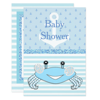 Cute Blue Baby Boy Crab Beachy Shower Invitation