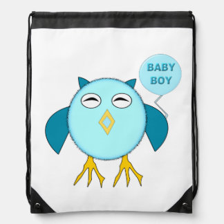 Cute Blue Baby Boy Drawstring Backpack