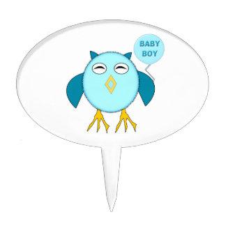 Cute Blue Baby Boy Owl Cake Pick