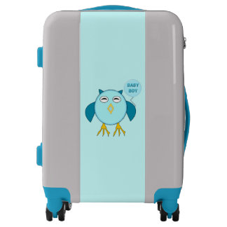 Cute Blue Baby Boy Owl Carry on Suitcase