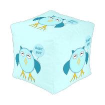 Cute Blue Baby Boy Owl Cube Pouf