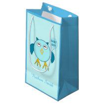 Cute Blue Baby Boy Owl Custom Gift Bag