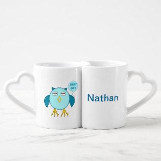 Cute Blue Baby Boy Owl Customizable Mugs