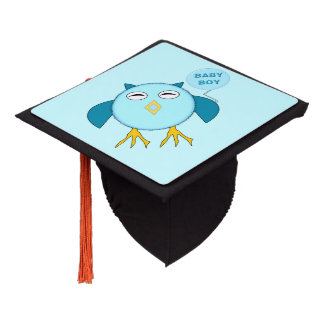 Cute Blue Baby Boy Owl Graduation Topper