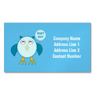 Cute Blue Baby Boy Owl Magnetic Business Cards