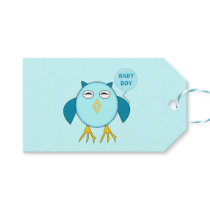 Cute Blue Baby Boy Owl Personalized Gift Tags